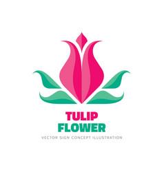 tulip flower - logo template concept vector image