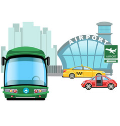 vehicle waiting outside on airport building car vector image