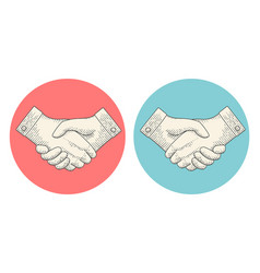 Vintage drawing of handshake in engraving style vector
