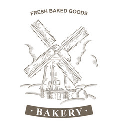 Vintage windmill logo bakery design template vector