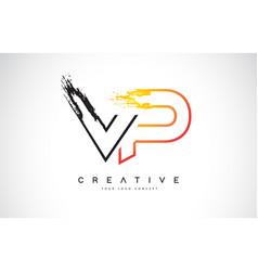 vp creative modern logo design with orange and vector image