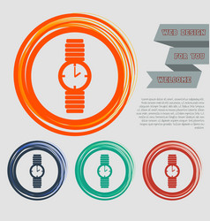 Watch icon on the red blue green orange buttons vector
