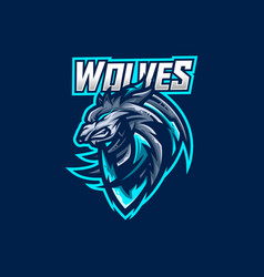 Wolves esport gaming mascot logo template vector
