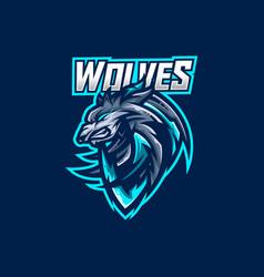 wolves esport gaming mascot logo template vector image