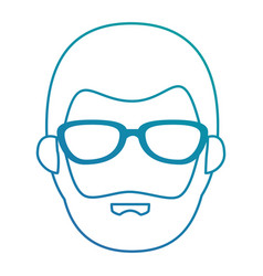 young man with glasses head avatar character vector image