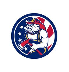 bulldog fireman american flag icon vector image vector image