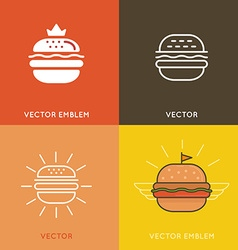 Burger logo design elements vector