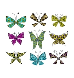 Colorful butterfly set for your design vector image vector image