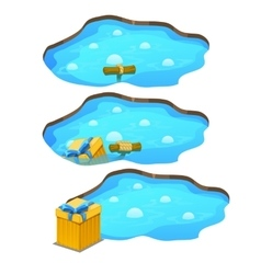Game get gift box from the pond three stages vector image