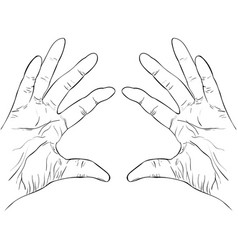 ink sketch two hands holding something vector image vector image