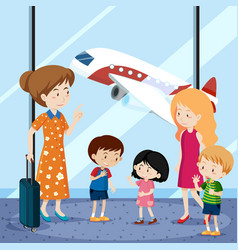 people at the airport with airplane in background vector image vector image