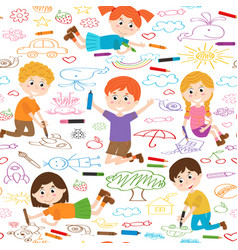 seamless pattern with child art vector image vector image
