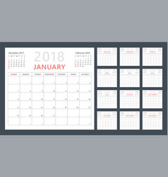 calendar planner for 2018 starts sunday vector image vector image