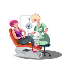 dentist and woman in dentist chair vector image vector image