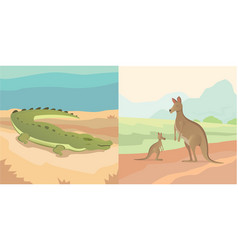 adult kangaroo with baby and vector image vector image