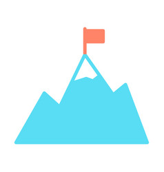 mountains with flag on peak icon goal achievement vector image vector image
