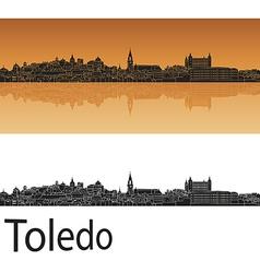 Toledo skyline in orange background in editable vector image vector image