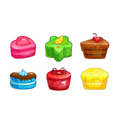 cartoon colorful sweet cakes set vector image vector image
