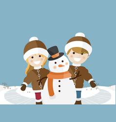 children playing on a sunny winter day vector image vector image