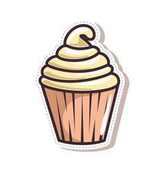cisolated cute cupcake vector image