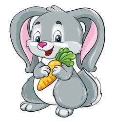 cute bunny with carrot on a white background vector image vector image