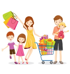 Family Shopping and Gift Box in Shopping Cart vector image vector image