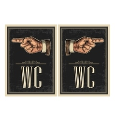 Pointing finger Hand sign for web poster info vector image