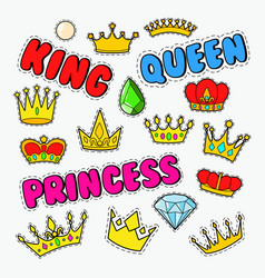 royal doodle with set of golden crowns and gems vector image vector image