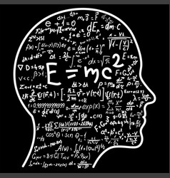Scientific thinking outline of head filling math vector