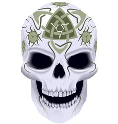 skull with celtic tattoo vector image