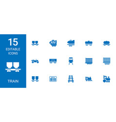 15 train icons vector