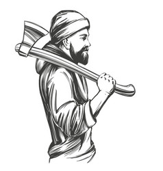 a bearded man in a hoodie holds an axe on his vector image