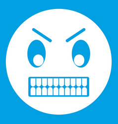 angry emoticon white vector image