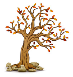 autumn tree with stones vector image