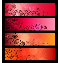 banners headers with floral elements vector image