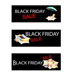 Beach Items on Three Black Friday Sale Banners vector