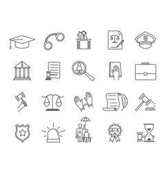 black and white icons for law and justice vector image