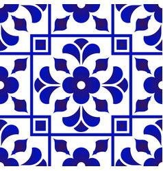 Blue and white tile pattern design vector
