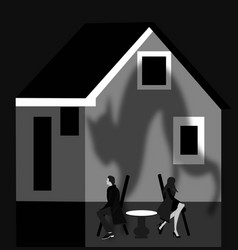broken couple in front of their house vector image