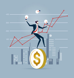 Businessman trying to stand a dollar coin vector