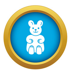 Candy bear icon blue isolated vector