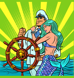 captain ship and beautiful mermaid vector image