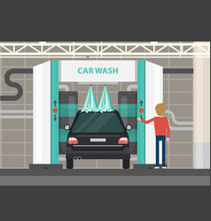 Car wash center full and self service facilities vector