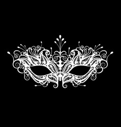 Carnival mask icon white silhouette isolated vector