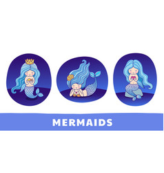 Collection of cute cartoon princess mermaids vector