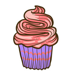 cream cupcake icon hand drawn style vector image