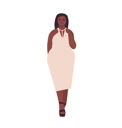 curvy young woman flat plump vector image