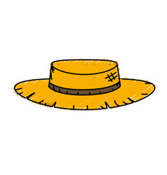 Cute pesant hat to use in the farm work vector