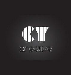 cy c y letter logo design with white and black vector image