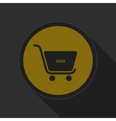 Dark gray and yellow icon shopping cart add vector